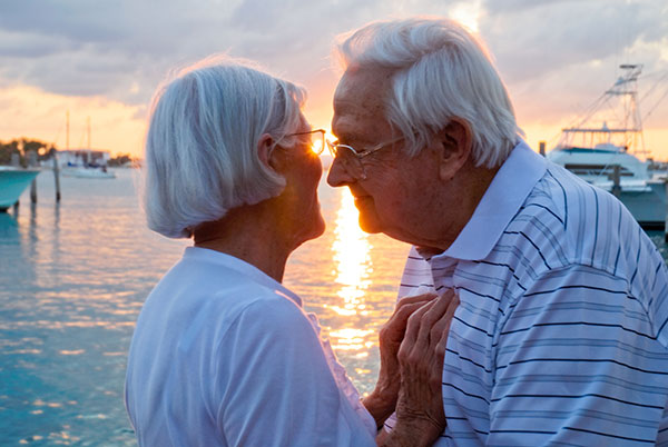 Older Couple in Love at Sunset